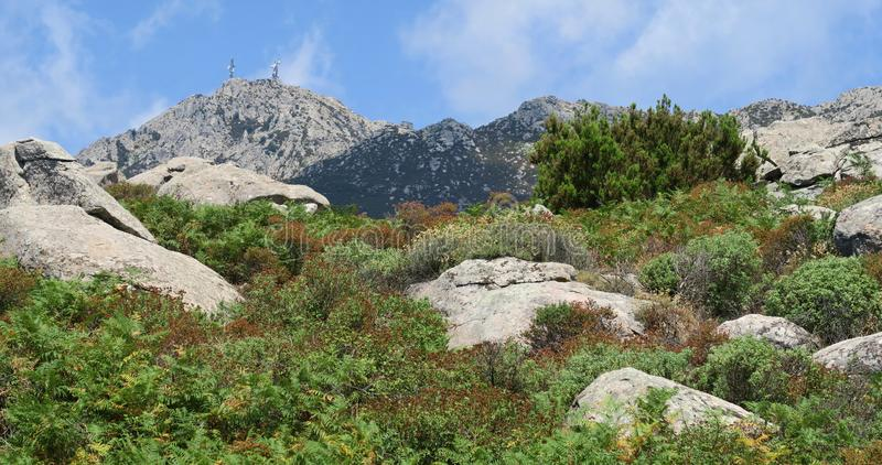 Monte Capanne peak from the south side near Marina di Campo on the island Elba royalty free stock photo