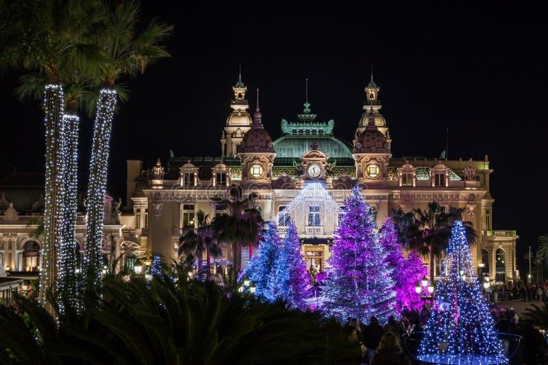 Monte Carlo Casino al Natale immagine stock