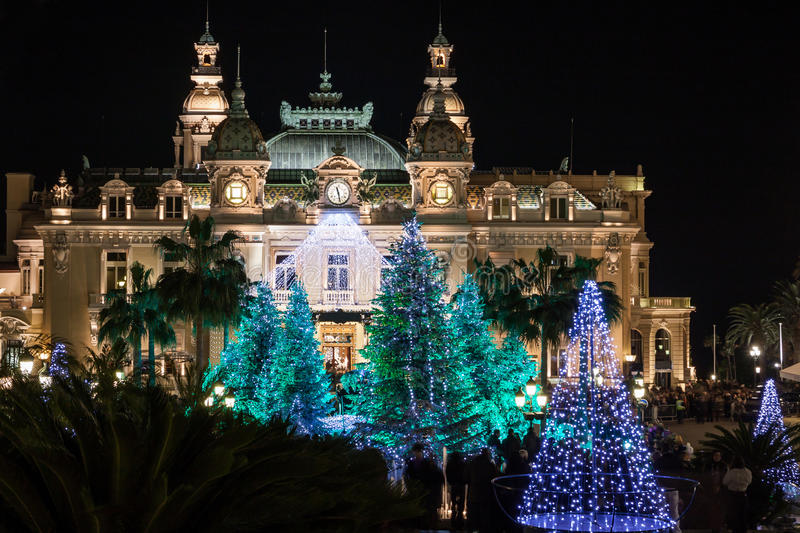 Monte Carlo Casino at Christmas. Monte Carlo Casino, the most famous builging in Montecarlo, at night during Christmas and New Year Celebrations, Monaco royalty free stock images