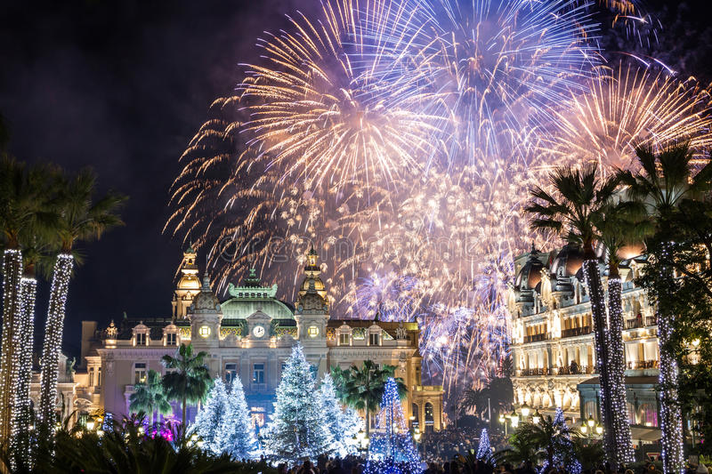 Monte Carlo Casino during New Year Celebrations. Monte Carlo Casino at night during New Year Celebrations, with fantastic fireworks royalty free stock images
