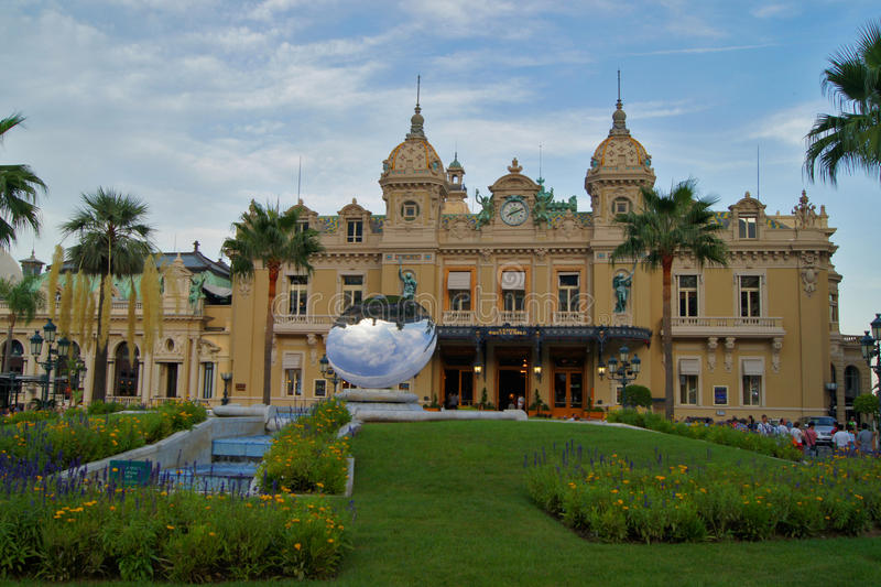 Monte Carlo Casino and Sky Mirror sculpture in Monaco stock photos