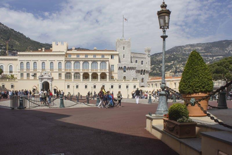 Quare of Grimaldi Palace in Monaco, Monte Carlo. MONTE CARLO, MONACO - APRIL 25 2017: Square of Grimaldi Palace in Monaco, Monte Carlo royalty free stock image