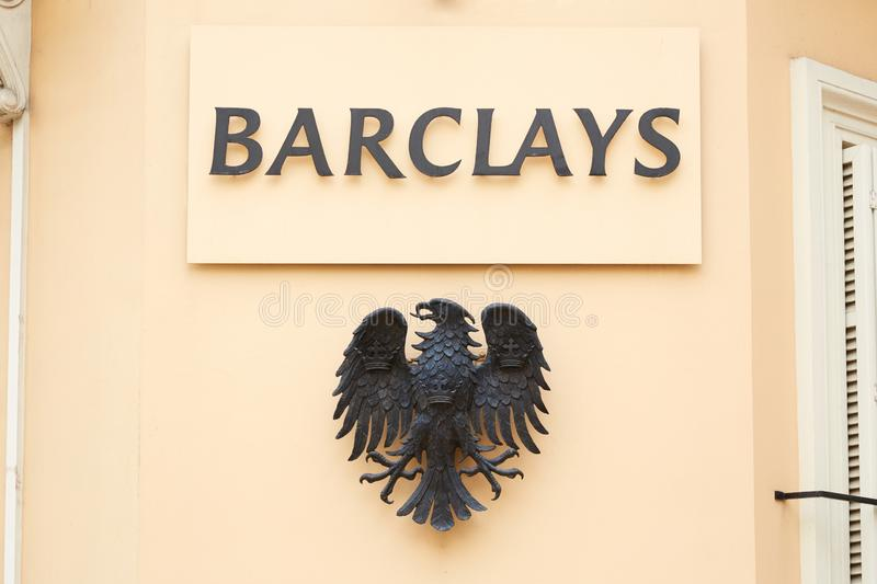 Barclays bank sign and eagle metal logo in Monte Carlo, Monaco royalty free stock photos