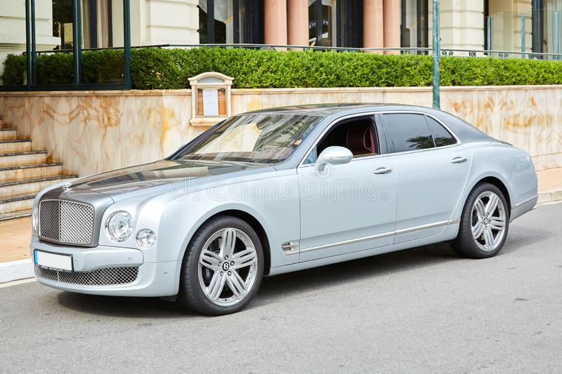Bentley gray luxury car in a summer day in Monte Carlo, Monaco. MONTE CARLO, MONACO - AUGUST 20, 2016: Bentley gray luxury car in a summer day in Monte Carlo royalty free stock photos
