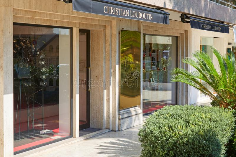 Christian Louboutin fashion luxury store in a sunny summer day in Monte Carlo, Monaco royalty free stock images