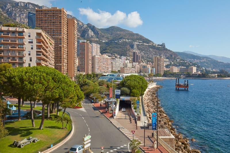 MONTE CARLO, MONACO - AUGUST 21, 2015: Monte Carlo coast with skyscrapers, maritime pines and sea in a sunny day in Monaco stock photography