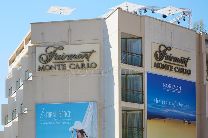 Fairmont luxury hotel building in a sunny day, clear blue sky in Monte Carlo, Monaco stock photography