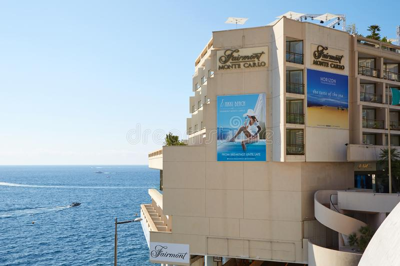 Monte Carlo, Fairmont luxury hotel building in a sunny day, sea view and Nikki beach terrace royalty free stock photos