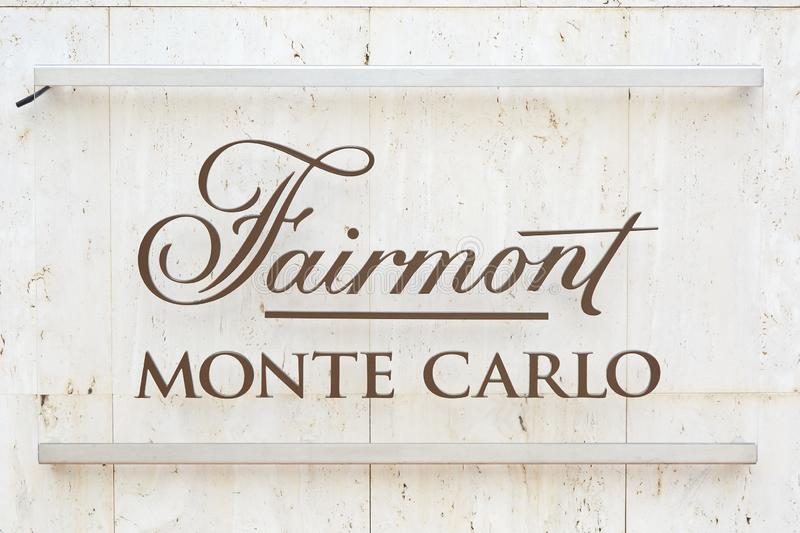 Fairmont luxury hotel glass sign in summer in Monte Carlo, Monaco royalty free stock image