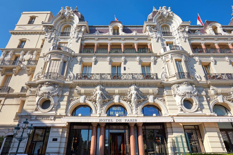 Hotel de Paris, luxury hotel building facade in a summer day in Monte Carlo, Monaco stock photography