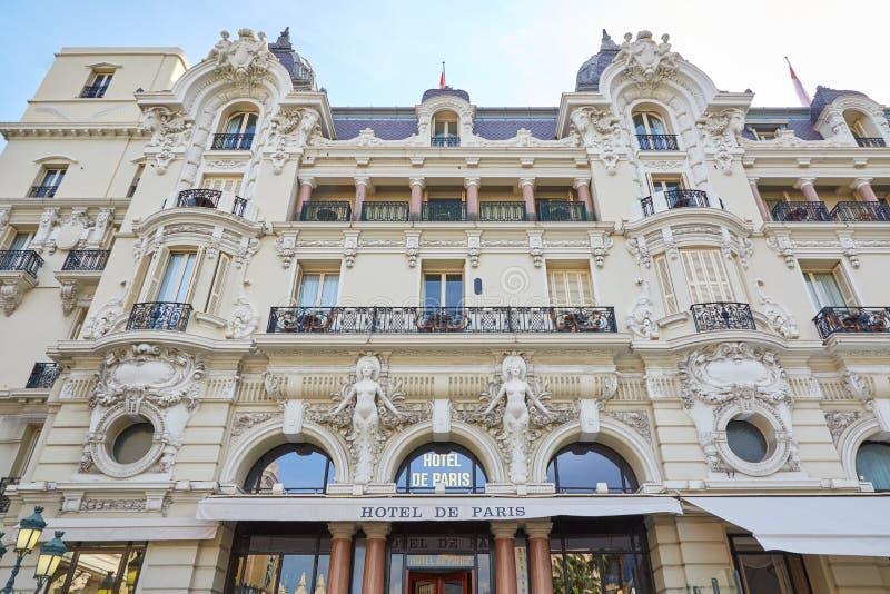 Hotel de Paris, luxury hotel building in a summer day in Monte Carlo, Monaco stock photo