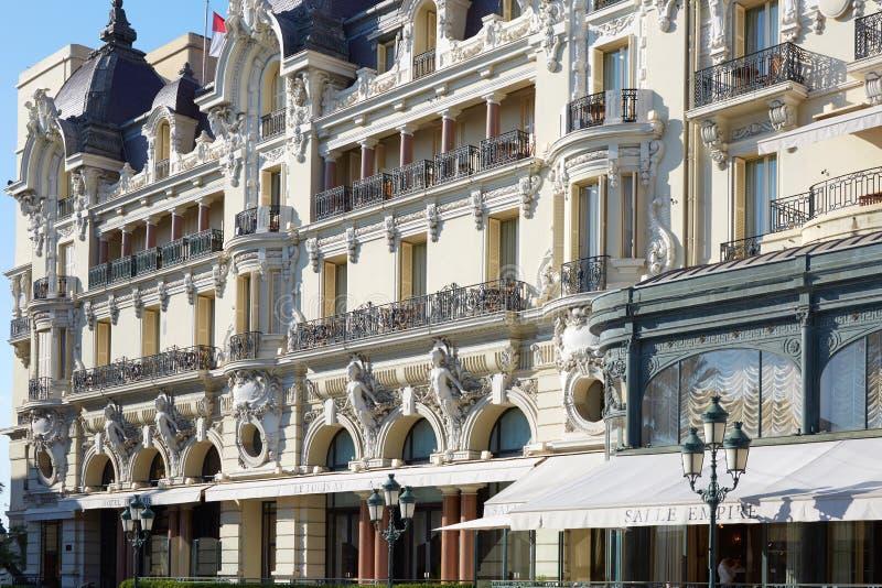 Hotel de Paris, luxury hotel building in a sunny day in Monte Carlo, Monaco stock photos