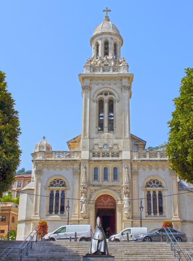 Monte - carlo, Monaco - Augusti 03, 2013: Katolsk kyrka Eglise St Charles fotografering för bildbyråer
