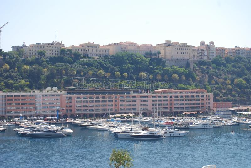 Monte-Carlo, Monaco Bay, harbor, marina, river, sea royalty free stock photography