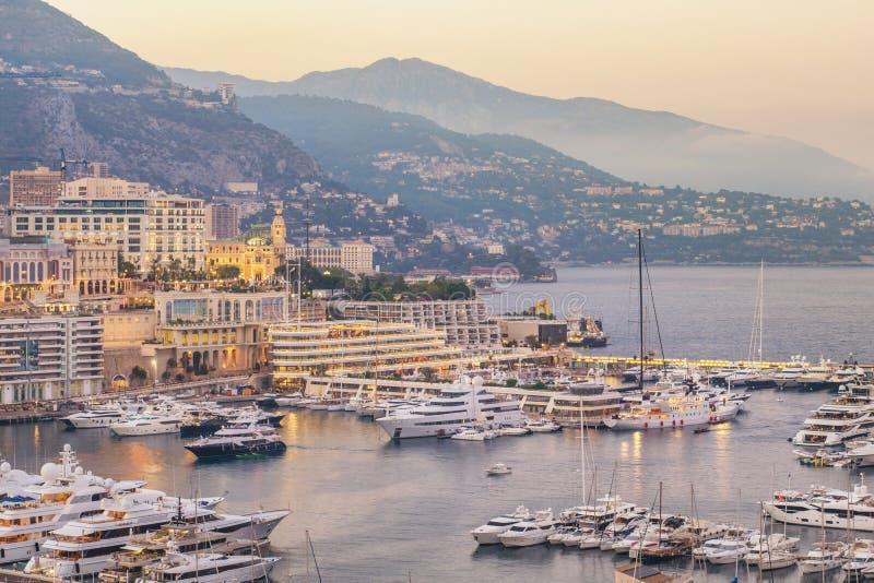 Monte Carlo Monaco sunset at Ville port stock images