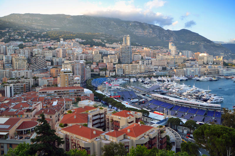 Monte Carlo. Monaco Harbour, Monte Carlo and the F1 Monaco Grand Prix Race Track viewed from the Palace Square over the pit lane across towards Casino Square and royalty free stock image