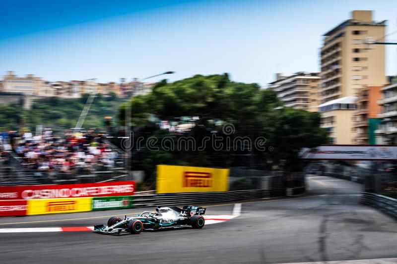 #44 Lewis HAMILTON GBR, Mercedes, W10 at Sainte Devote stock photography