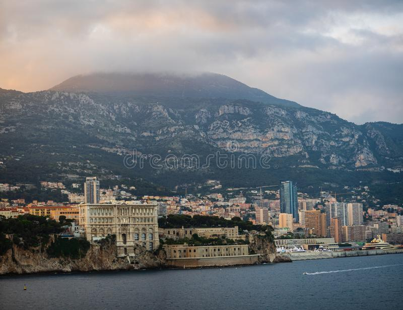 Monte Carlo, Monaco – 2019. Panoramic view of Monte Carlo harbor at sunset stock photography