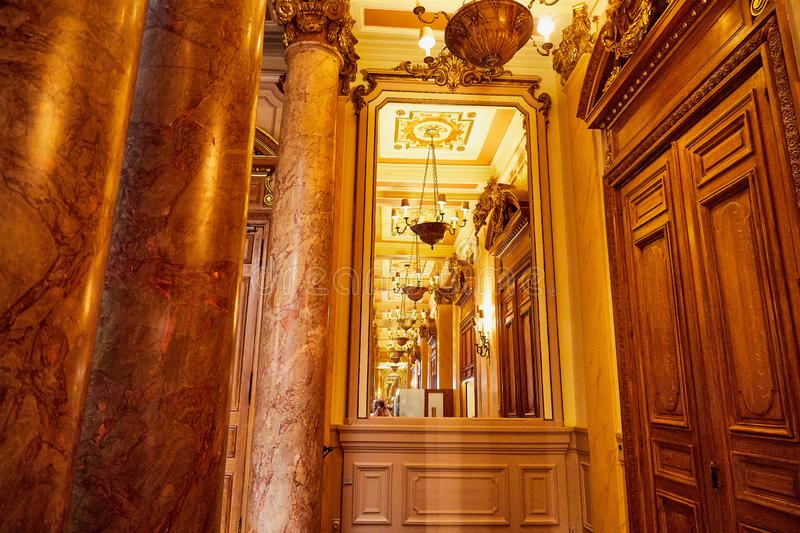 Monte Carlo, Monaco - September 23, 2018: A view of the lobby of the Casino de Monte-Carlo with marble decoration. Monte Carlo, Monaco - September 17, 2016: A stock photo