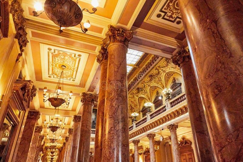 Monte Carlo, Monaco - September 23, 2018: A view of the lobby of the Casino de Monte-Carlo with marble decoration. Monte Carlo, Monaco - September 17, 2016: A royalty free stock photos