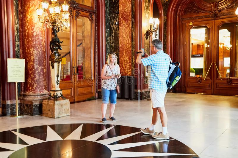 Monte Carlo, Monaco - September 23, 2018: A view of the lobby of the Casino de Monte-Carlo with marble decoration. Monte Carlo, Monaco - September 17, 2016: A stock images