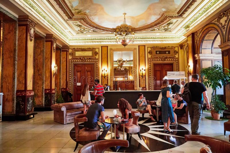 Monte Carlo, Monaco - September 23, 2018: A view of the lobby of the Casino de Monte-Carlo with marble decoration. Monte Carlo, Monaco - September 17, 2016: A stock image