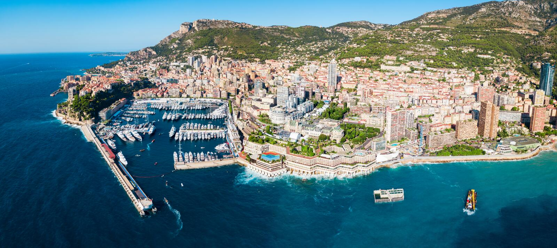 Monte Carlo, Monaco Vogelperspektive stockbild