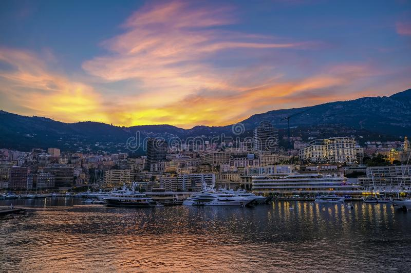 Monte Carlo at sunset Monaco royalty free stock photography