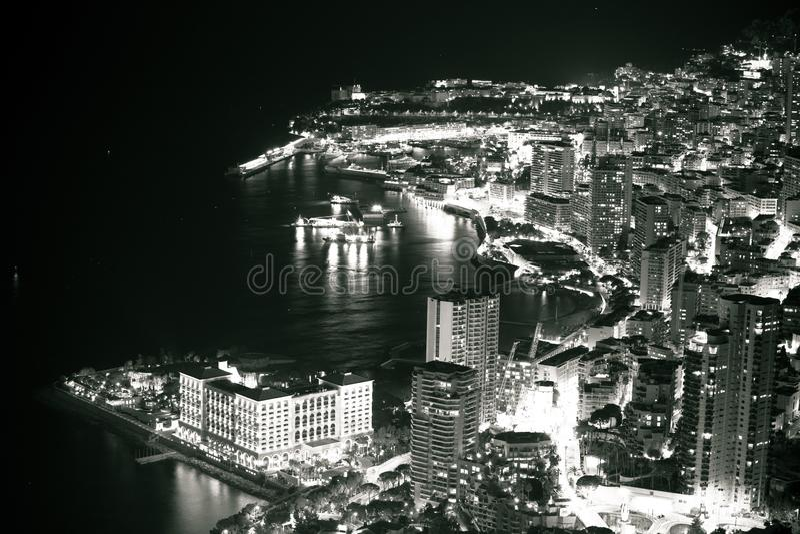 Monte Carlo Ufergegend-Abend-Schwarzweiss-Ansicht lizenzfreie stockbilder