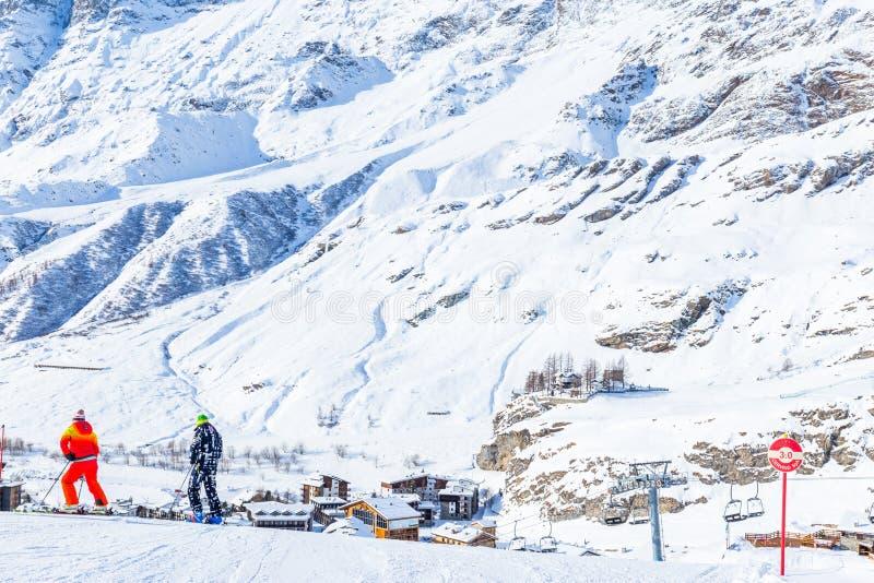 Monte Cervino Matterhorn im Dezember, Breuil-Cervinia, Valle d stockbilder