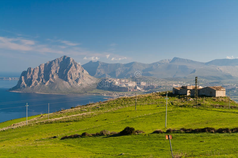 Monte Cofano. View on Monte Cofano, a protected natural area of Sicily royalty free stock photo