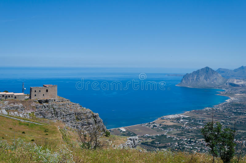 Monte Cofano from Erice. Mountain Monte Cofano in Sicilily island gulf royalty free stock photo
