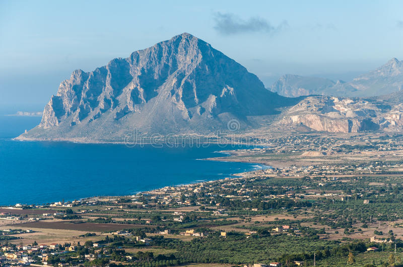 Monte Cofano from Erice. Mountain Monte Cofano in Sicilily island gulf royalty free stock image