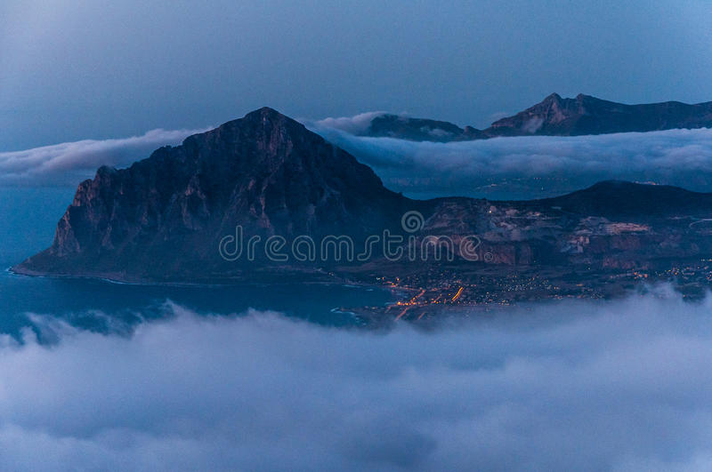 Monte Cofano from Erice. Mountain Monte Cofano in Sicilily island gulf stock images