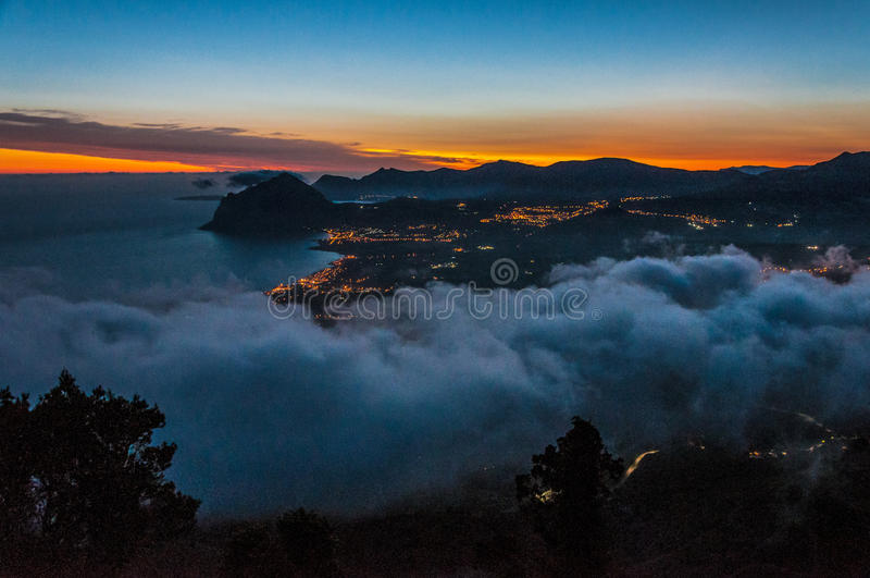 Monte Cofano from Erice. Mountain Monte Cofano in Sicilily island gulf in the morning stock photography