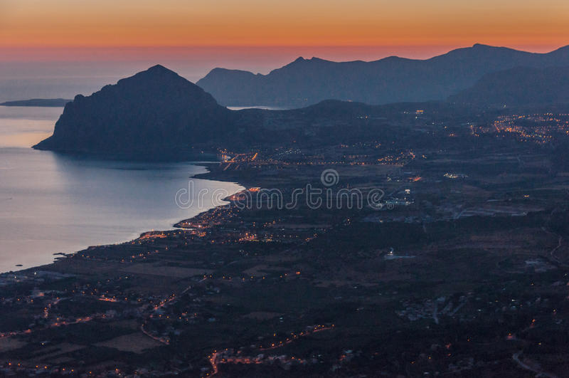 Monte Cofano from Erice. Panorama from mountain village Erice on Sicily island of Italy to mountain Monte Cofano stock photo