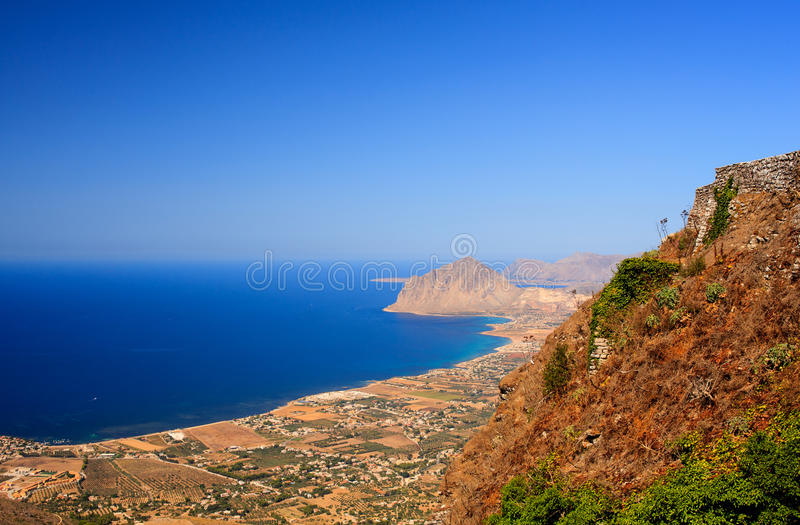 Monte Cofano, Erice. View of the Cofano Mountain in Erice, Trapani. Sicily stock images