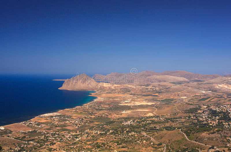 Monte Cofano, Erice. View of the Cofano Mountain in Erice, Trapani. Sicily royalty free stock images