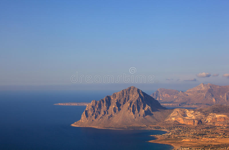 Monte Cofano, Erice. View of the Cofano Mountain in Erice, Trapani. Sicily royalty free stock photo