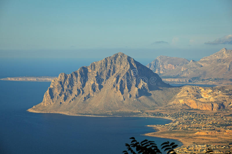 Monte Cofano, Erice. View of the Cofano Mountain in Erice, Trapani. Sicily stock photo