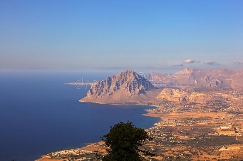 Monte Cofano, Erice. View of the Cofano Mountain in Erice, Trapani. Sicily royalty free stock image