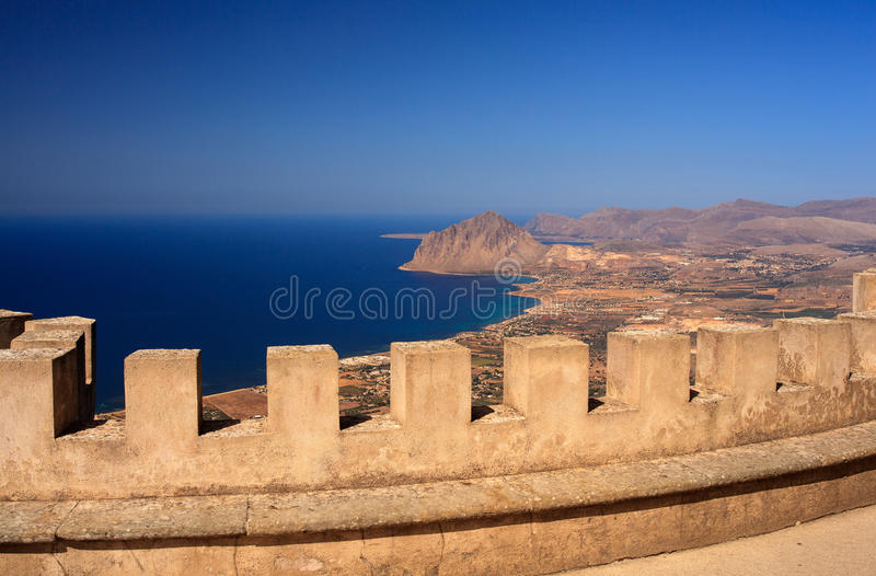 Monte Cofano, Erice. View off the Cofano Mountain in Erice, Trapani. Sicily royalty free stock photography