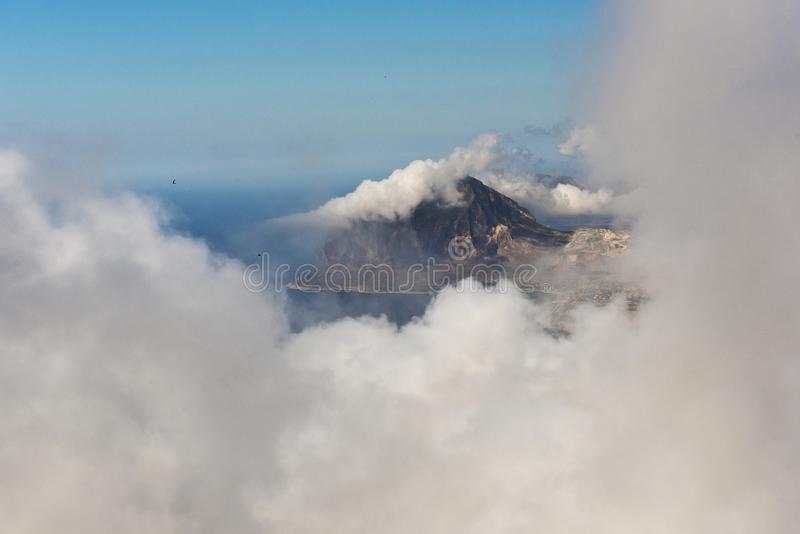Monte Cofano in clouds. Sicily, Italy. Monte Cofano Mount Cofano in the clouds. Sicily, Italy royalty free stock images