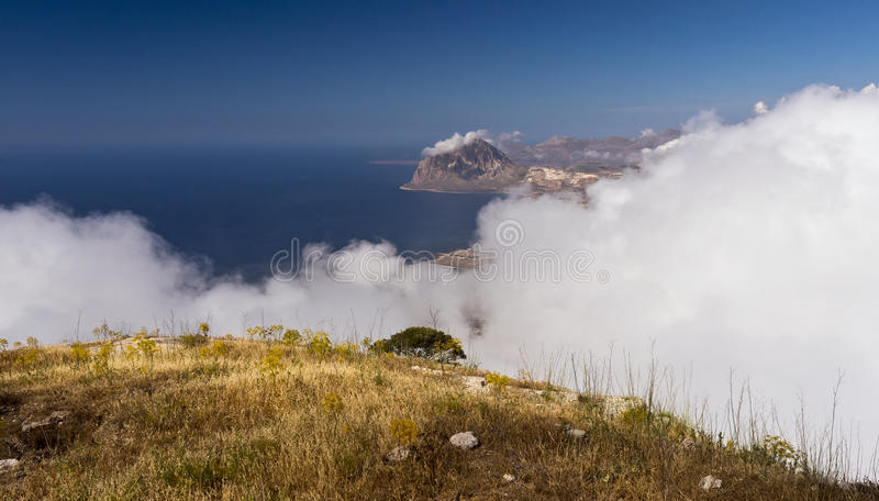 Monte Cofano Mount Cofano in Sicily, Italy. Monte Cofano Mount Cofano and clouds. Sicily, Italy royalty free stock images