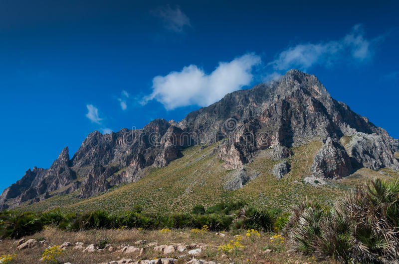 Monte Cofano. Mountain Monte Cofano in Sicilily island gulf stock photography