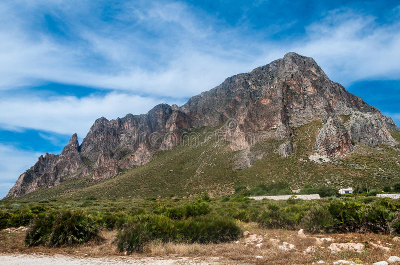 Monte Cofano. Panorama to mountain Monte Cofano on Sicily island royalty free stock photos