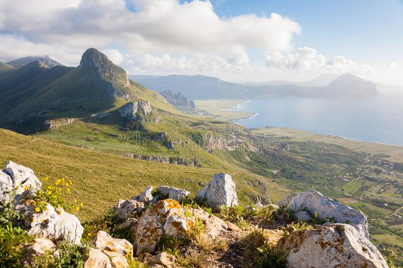 Monte Cofano park, Sicily. A landscape of the Monte Cofano nature park seen from the Monte Monaco near San Vito Lo Capo in northern Sicily, Italy stock photos