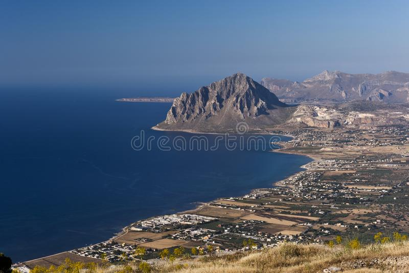 Monte Cofano., Sicily, Italy. Monte Cofano Mount Cofano as seen from Mount Erice. Sicily, Italy royalty free stock images