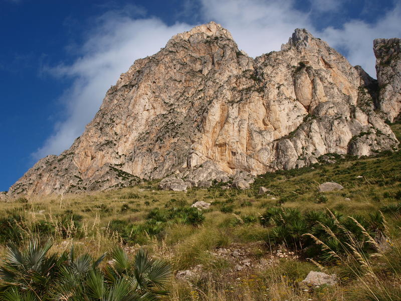 Monte Cofano, Sicily, Italy. Monte Cofano in the Natural Reserve of Monte Cofano, Custonaci, Sicily, Italy stock photos