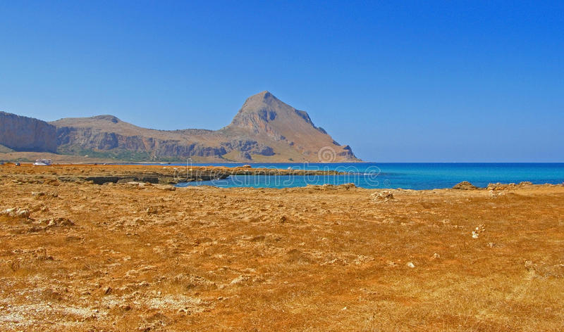 Monte Cofano - Sicily, Italy; panorama. Panoramic coastal view of Monte Cofano mountain and Macari bay in Sicily, Italy; with space for text (copyspace royalty free stock photo